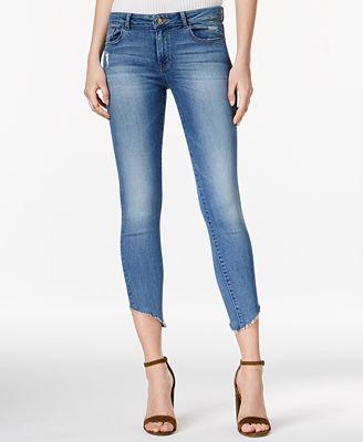 DL 1961 Margaux Uneven-Hem Acetate Wash Skinny Jeans