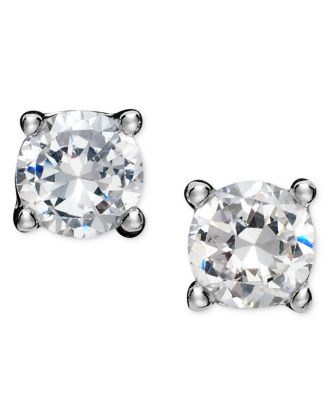Image of Giani Bernini Sterling Silver Earrings, Round Cubic Zirconia Studs (1/2 ct. t.w.)