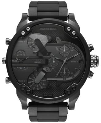Men's Chronograph Mr. Daddy 2.0 Black Stainless Steel and Silicone Bracelet Watch 46x54mm DZ7396