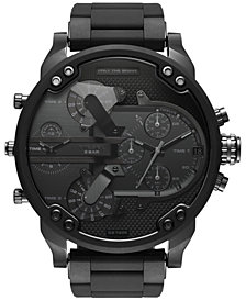 Diesel Men's Chronograph Mr. Daddy 2.0 Black Stainless Steel and Silicone Bracelet Watch 46x54mm DZ7396