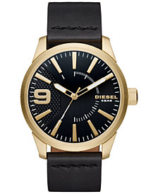 Diesel Men's Black Leather Strap Watch 46x53mm DZ1801