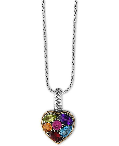 EFFY Collection EFFY® Balissima Multi-Gemstone Pendant Necklace (2 ct. t.w.) in Sterling Silver and 18k Gold