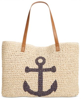 Image of Style & Co Anchor Straw Beach Bag, Only at Macy's