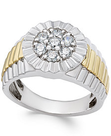 Men's Diamond Two-Tone Cluster Ring (3/4 ct. t.w.) in 10k Gold and White Gold
