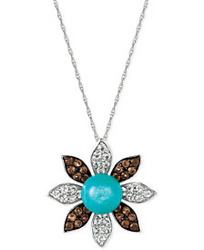 Le Vian® Multi-Gemstone (4-1/2 ct. t.w.) Flower Pendant Necklace in 14k White Gold