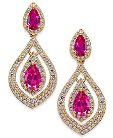 Certified Ruby (1-1/2 ct. t.w.) & Diamond (3/4 ct. t.w.) Drop Earrings in 14k Gold (Also Emerald & Sapphire)