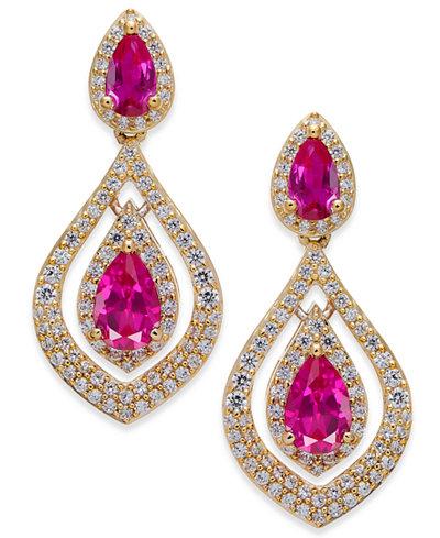 Certified Ruby (1-1/2 ct. t.w.) & Diamond (3/4 ct. t.w.) Drop Earrings in 14k Gold (Also Emerald & Sapphire)