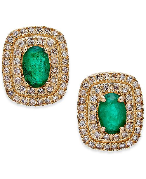Macy's Emerald (3/4 ct. t.w.) and Diamond (1/3 ct. t.w.) Stud Earrings in 14k Gold