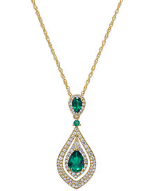 Certified Ruby (1-1/4 ct. t.w.) and Diamond (1/2 ct. t.w.) Pendant Necklace in 14k Gold(Also available in Emerald and Sapphire)
