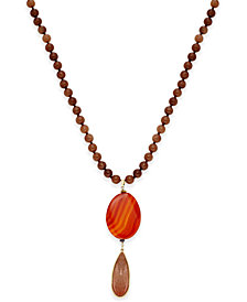 Paul & Pitü Naturally Gold-Tone Rust-Colored Stones Beaded Pendant Necklace