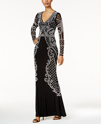 Xscape Beaded Illusion Gown Dresses Women Macy S