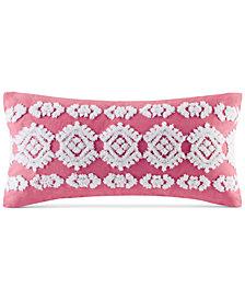 """CLOSEOUT! Echo Shibori Embroidered 10"""" x 20"""" Decorative Pillow"""
