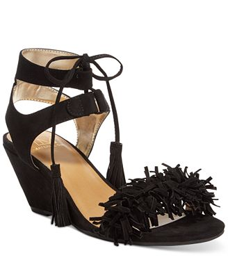 Material Girl Haniya Fringe Wedge Sandals, Only at Macy's