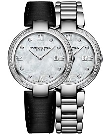 RAYMOND WEIL Women's Swiss Shine Diamond (1/3 ct. t.w.) Black Satin Strap Watch with Interchangeable Stainless Steel Bracelet 32mm 1600-STS-00995