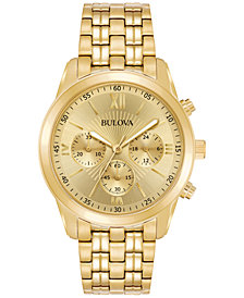 Bulova Men's Chronograph Sport Gold-Tone Stainless Steel Bracelet Watch 40mm 97A128, Created for Macy's
