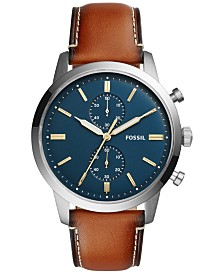 c82be209327f Fossil Men s Chronograph Grant Light Brown Leather Strap Watch 44mm ...