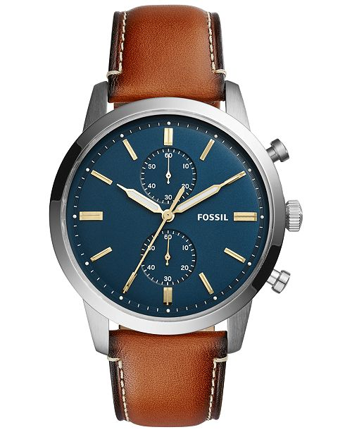 5f97c94759d68 ... Fossil Men s Chronograph Townsman Light Brown Leather Strap Watch 44mm  FS5279 ...