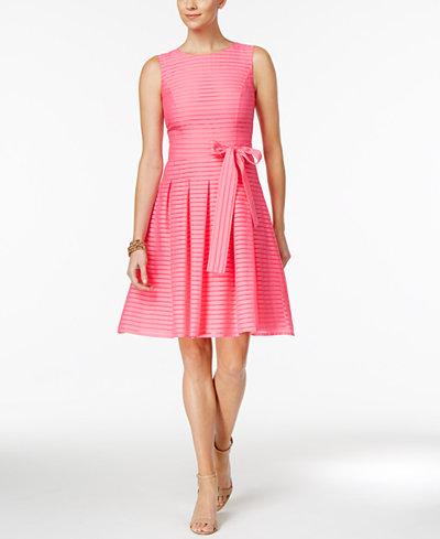 Tommy Hilfiger Illusion Striped Fit Amp Flare Dress Women