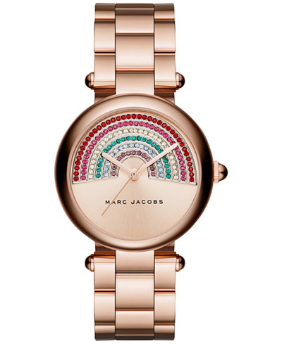 Marc Jacobs Women's Dotty Rose Gold-Tone Stainless Steel Bracelet Watch 34mm MJ3546