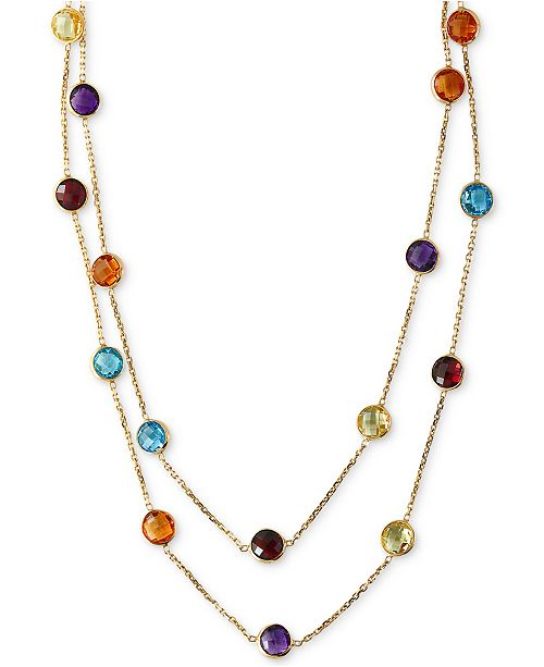 "EFFY Collection EFFY® Multistone Long 43"" Strand Necklace (28-9/10 ct. t.w.) in 14k Gold"