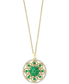 Brasilica by EFFY® Emerald (1-7/8 ct. t.w.) and Diamond (1/4 ct. t.w.) Floral Pendant Necklace in 14k Gold, Created for Macy's