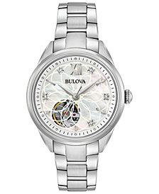 Bulova Women's Automatic Diamond Accent Stainless Steel Bracelet Watch 34mm 96P181