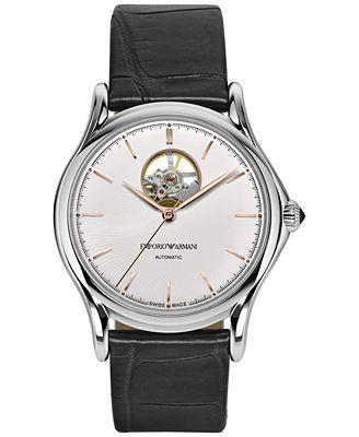 Emporio Armani Men's Swiss Automatic Black Leather Strap Watch 42mm ARS3303