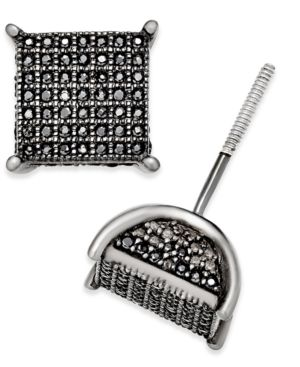 Men's Diamond Square Cluster Stud Earrings (1/2 ct. t.w.) in Sterling Silver -  Macy's