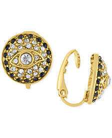 RACHEL Rachel Roy Gold-Tone Pavé Evil-Eye Clip-on Stud Earrings