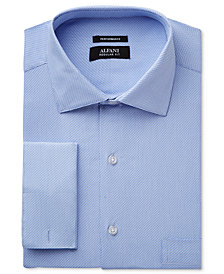 Alfani Men's Classic-Fit Performance Stretch Easy Care Twill French Cuff Dress Shirt, Created for Macy's