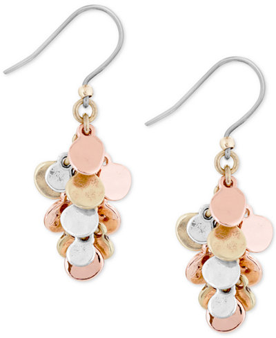 Lucky brand two tone cluster dangle drop earrings for Macy s lucky brand jewelry