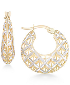 Openwork Two-Tone Round Chunky Hoop Earrings in 14k Gold and White Gold