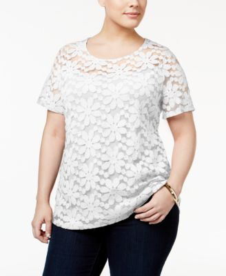 ea858fd7c66d9 INC International Concepts Plus Size Floral Lace Top