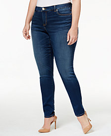 I.N.C. Plus Size Tummy Control Beyond Stretch Skinny Jeans, Created for Macy's