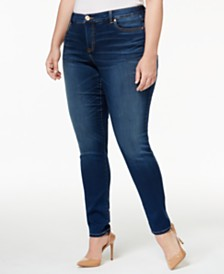 I.N.C. Plus and Petite Plus Size Tummy Control Beyond Stretch Skinny Jeans, Created for Macy's