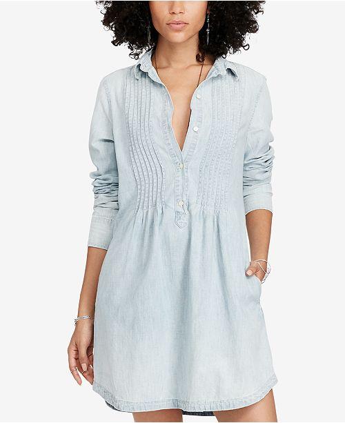 ... Denim   Supply Ralph Lauren Pintucked Chambray Cotton Dress ... e26a1983d