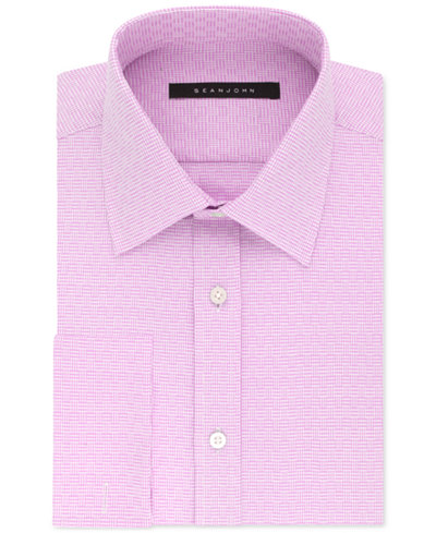 Sean john men 39 s classic regular fit textured solid french for Big and tall french cuff dress shirts