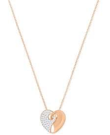 Swarovski Two-Tone Pavé Heart Pendant Necklace