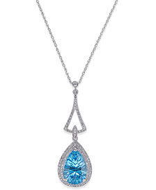 Blue Topaz (4-1/4 ct. t.w.) and Diamond (3/8 ct. t.w.) Pendant Necklace in 14k White Gold