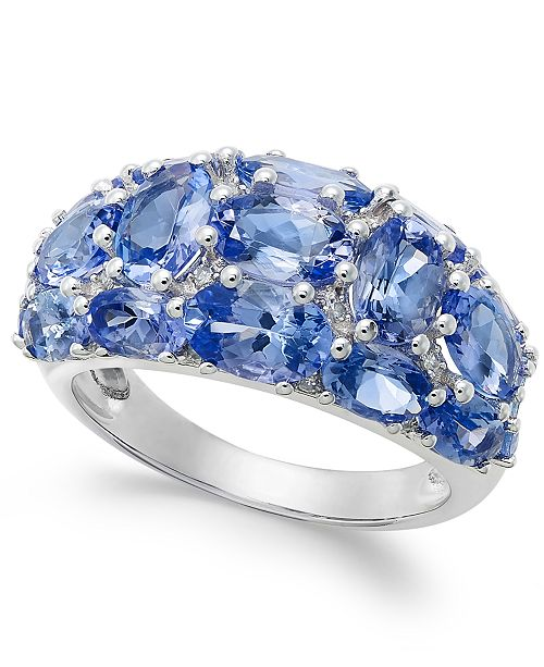 Macy's Tanzanite (6 ct. t.w.) and Diamond (1/8 ct. t.w.) Dome Ring in 14k White Gold, Created for Macy's