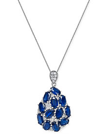 Sapphire (3 ct. t.w.) and Diamond (1/8 ct. t.w.) Pendant Necklace in 14k White Gold, Created for Macy's