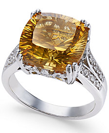 Citrine (5 ct. t.w.) and White Topaz Accent Ring in Sterling Silver