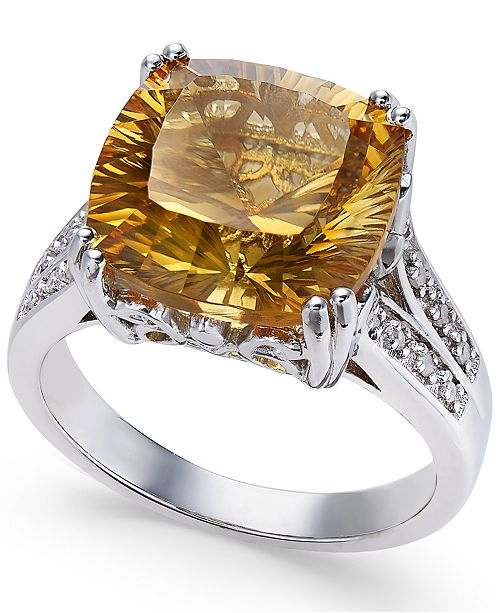 Macy's Citrine (5 ct. t.w.) and White Topaz Accent Ring in Sterling Silver