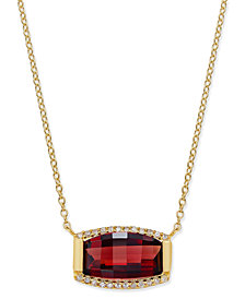 Rhodolite Garnet (3 ct. t.w.) and Diamond (1/8 ct. t.w.) Pendant Necklace in 14k Gold Vermeil over Sterling Silver