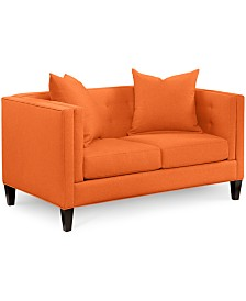 """Braylei 61""""  Fabric Track Arm Loveseat, Created for Macy's"""
