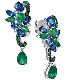 Le Vian Precious Collection® Sapphire (1-9/10 ct. t.w.), Emerald (2-1/10 ct. t.w.) and Diamond (1/5 ct. t.w.) Earrings in 14k White Gold, Created for Macy's