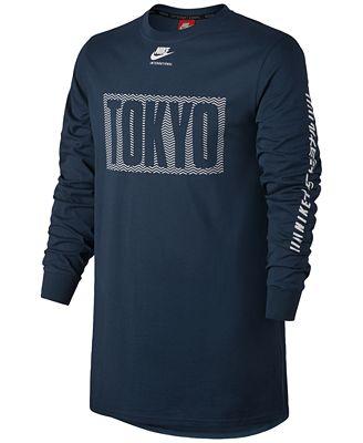 Nike Men's International Graphic Long-Sleeve Cotton T-Shirt ...
