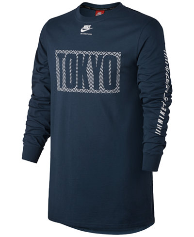 Nike Men's International Graphic Long-Sleeve Cotton T-Shirt ...