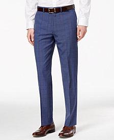 Ryan Seacrest Distinction™ Men's Blue Herringbone Plaid Suit Pants, Created for Macy's