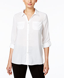 NY Collection Petite Windowpane-Print Utility Shirt